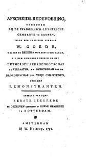 Afscheids-redevoering, gehouden bij de Evangelisch-Luthersche Gemeente te Campen,
