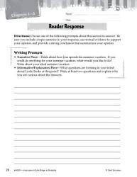 Bridge to Terabithia Reader Response Writing Prompts PDF