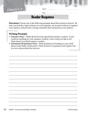 Bridge to Terabithia Reader Response Writing Prompts