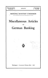 Miscellaneous Articles on German Banking