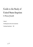Download Guide to the Study of United States Imprints Book