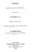 Notes  critical and practical on the Book of Joshua     By George Bush   With the text   PDF