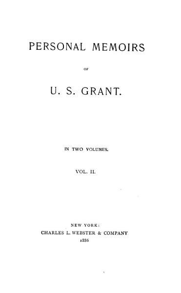 Download Personal Memoirs of U S  Grant Book