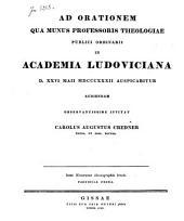 Ad orationem qua munis professoris theologiae publici ordinarii in Academia Ludoviciana