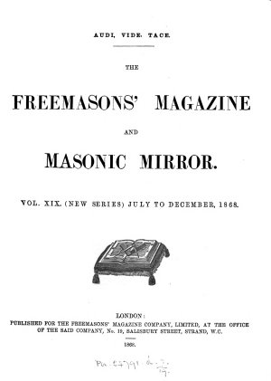 The Freemasons  Magazine and Masonic Mirror