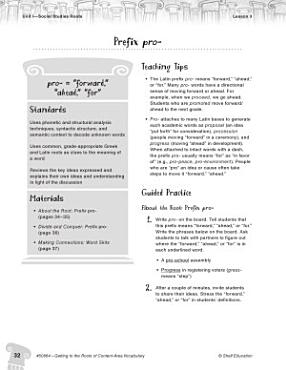 Content Area Vocabulary Level 4  Prefix pro  PDF