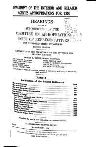 Department of the Interior and Related Agencies Appropriations for 1995  Justification of the budget estimates  Office of the Secretary