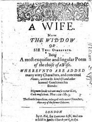 A Wife Now The Widdow The Fourth Impression Enlarged Etc Book PDF