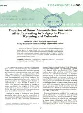 Duration of snow accumulation increases after harvesting in Lodgepole pine in Wyoming and Colorado