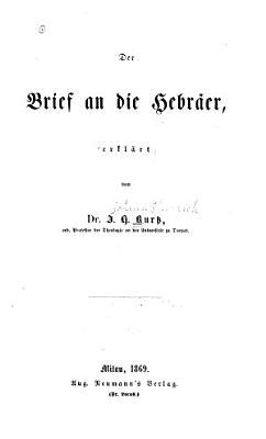 Der Brief an Die Hebr  er PDF