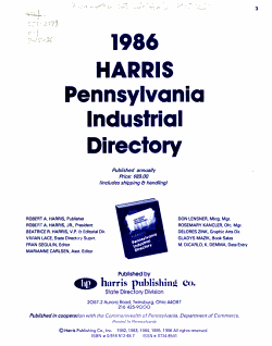 Harris Pennsylvania Industrial Directory PDF