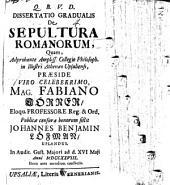 Diss. grad. de sepultura Romanorum