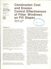 Construction cost and erosion control effectiveness of filter windrows on fill slopes