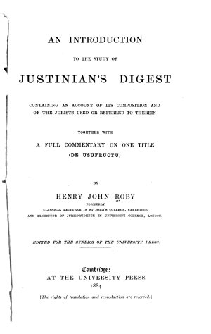 An Introduction to the Study of Justinian s Digest
