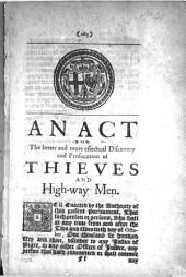 An Act for the Better and More Effectual Discovery and Prosecution of Thieves and High-way Men: Issue 59