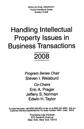 Handling Intellectual Property Issues in Business Transactions PDF