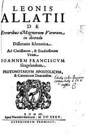 De erroribus magnorum virorum in dicendo: Dissertatio rhetorica ...