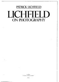 Lichfield on Photography Book
