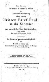Ueber den durch Wilhelm Friedrich Rinck aus armenischer Uebersetzung bekannt gemachten dritten Brief Pauli an die Korinther und das kurze Schreiben der Korinther, durch welches der apostol. Brief veranlasst worden