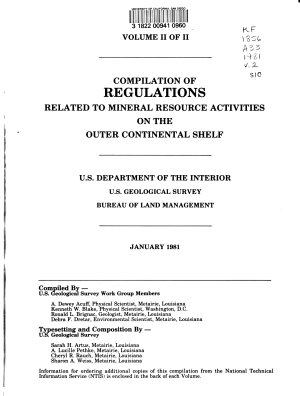 Compilation of Regulations Related to Mineral Resource Activities on the Outer Continental Shelf PDF