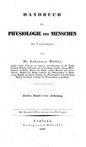 Handbuch der Physiologie des Menschen für Vorlesungen: Band 2,Ausgabe 1