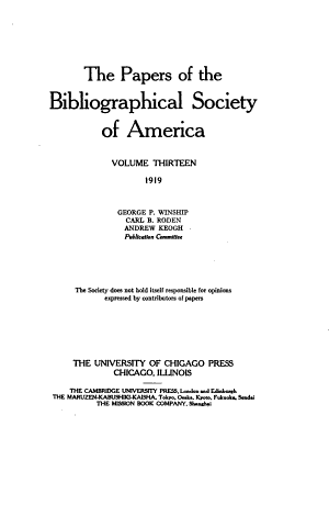 The Papers of the Bibliographical Society of America PDF