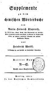 Supplemente zu dem chemischen Wörterbuche: Band 3