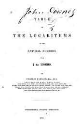 Table of the Logarithms of the Natural Numbers from 1 to 108000