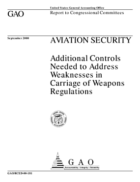 Aviation security   additional controls needed to address weaknesses in carriage of weapons regulations   report to congressional committees PDF