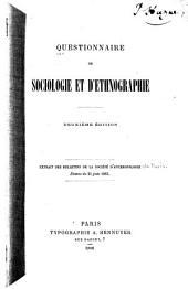 Questionnaire de sociologie et d'ethnographie