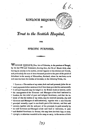 Kinloch bequest, in trust to the Scottish hospital, for specific purposes [an account of Chancery proceedings concerning the bequest].
