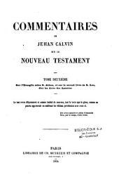 Commentaires de Jehan Calvin sur le Nouveau Testament