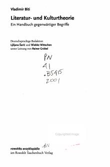Literatur  und Kulturtheorie PDF