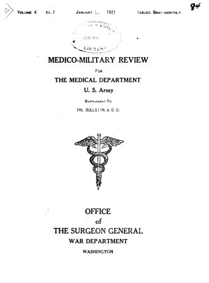 Medico military Review for the Medical Department  U S  Army PDF
