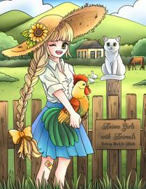 Anime Girls With Animals Coloring Book For Adults 1