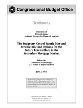 Budgetary Cost of Fannie Mae and Freddie Mac and Options for the Future Federal Role in the Secondary Mortgage Market: Testimony Before the Committee on the Budget, U. S. House of Representatives