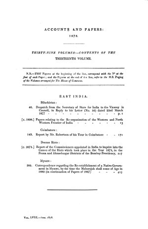 Accounts and Papers of the House of Commons