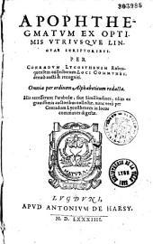 Apophtegmatum ex optimis utriusque linguae scriptoribus