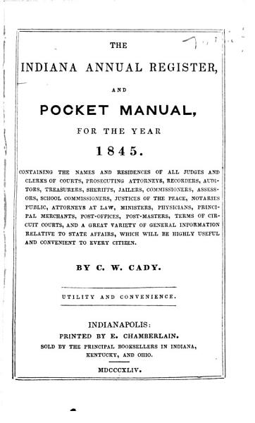 Download The Indiana Annual Register and Pocket Manual Book