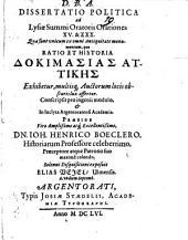 Diss. polit. ad Lysiae ... orationes XV. et XXX.