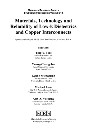 Materials  Technology and Reliability of Low k Dielectrics and Copper Interconnects PDF