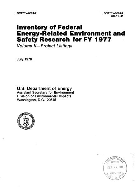 Inventory of Federal Energy related Environment and Safety Research for     PDF