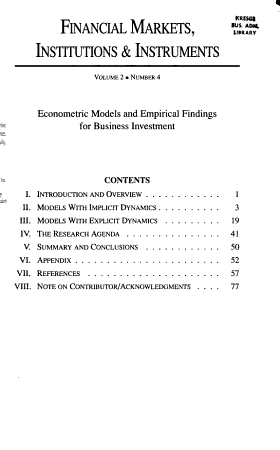 Econometric Models and Empirical Findings for Business Investment PDF