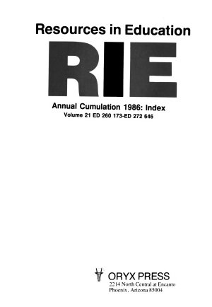 Resources in Education  RIE   1986 PDF