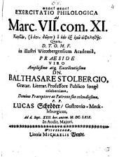 Exercitatio philol. ad Marci VII,11