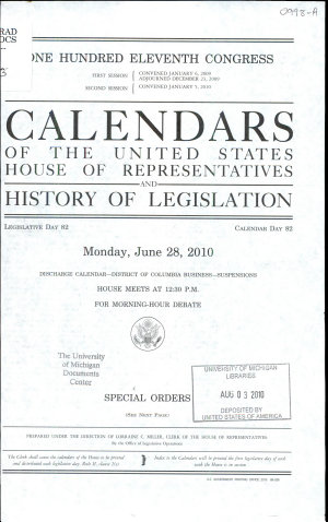 Calendars of the United States House of Representatives and History of Legislation