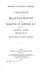 Calendar of the Manuscripts of the Marquess of Ormonde, K. P.: Preserved at Kilkenny Castle, Volume 2