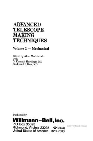 Advanced Telescope Making Techniques  Mechanical