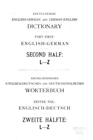 Encyclopaedic English-German and German-English dictionary