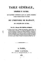 Histoire de Hainaut: traduite en Français avec le texte Latin en regard, et accompagnée de notes. Table générale : alphabétique et analytique, Volume20